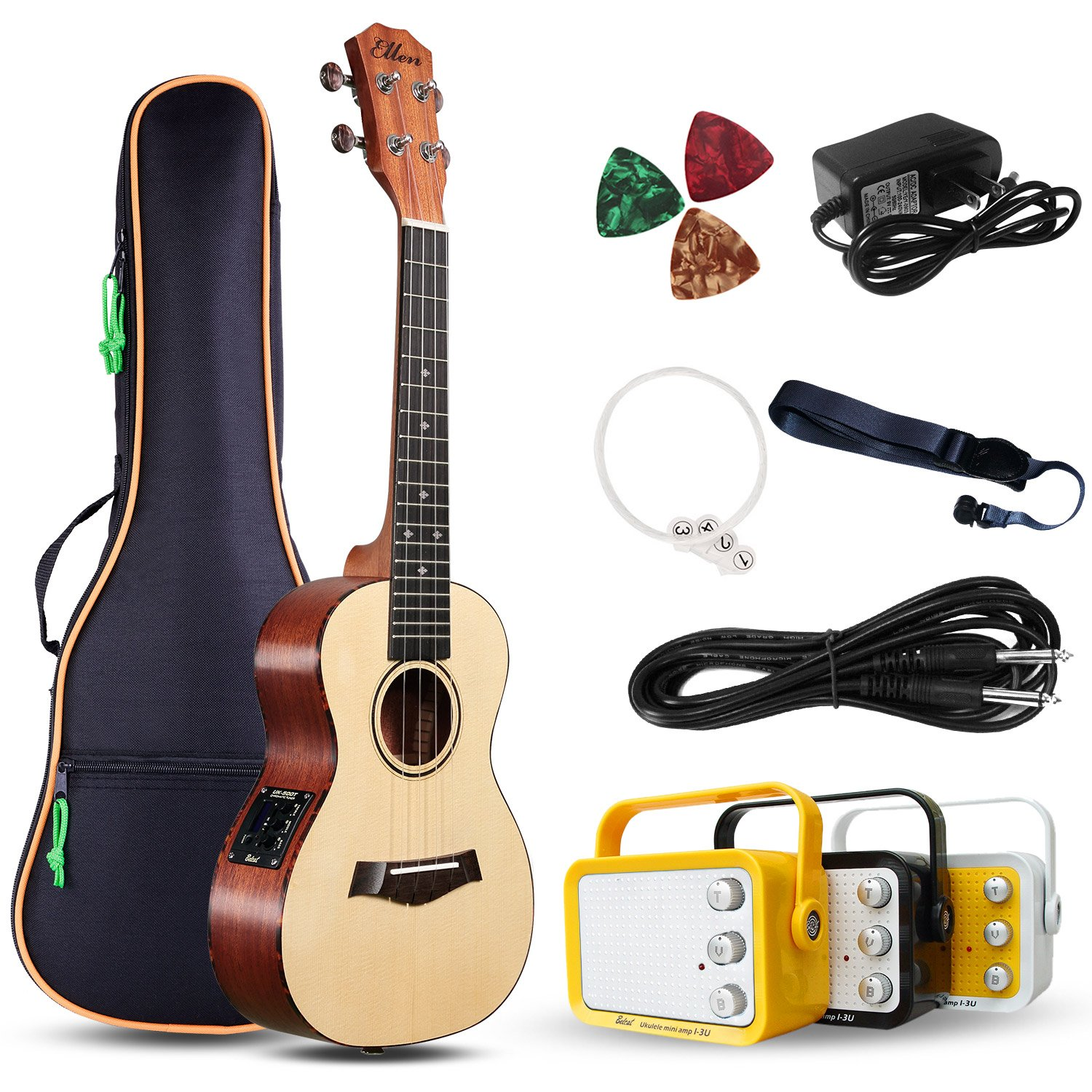 Electric Concert Ukulele With Amp | 23 Acoustic-Electric Ukulele Beginner Kit | This Electric Ukulele Kit Includes Everything Needed For A Beginner Ukulele Learner | Crafted From Spruce Mahogany