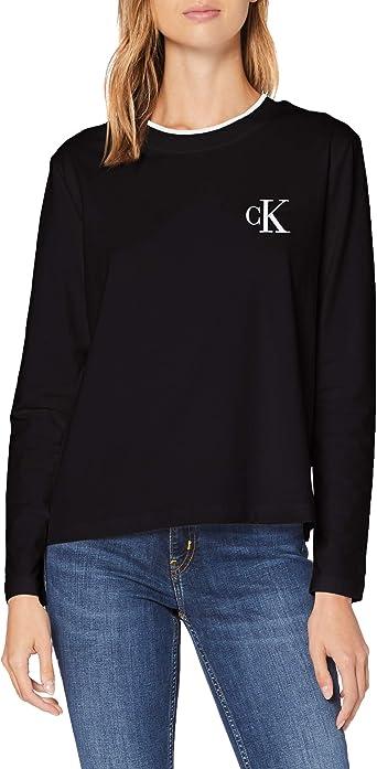 Calvin Klein CK Embroidery Tipping LS tee Camisa para Mujer: Amazon.es: Ropa y accesorios