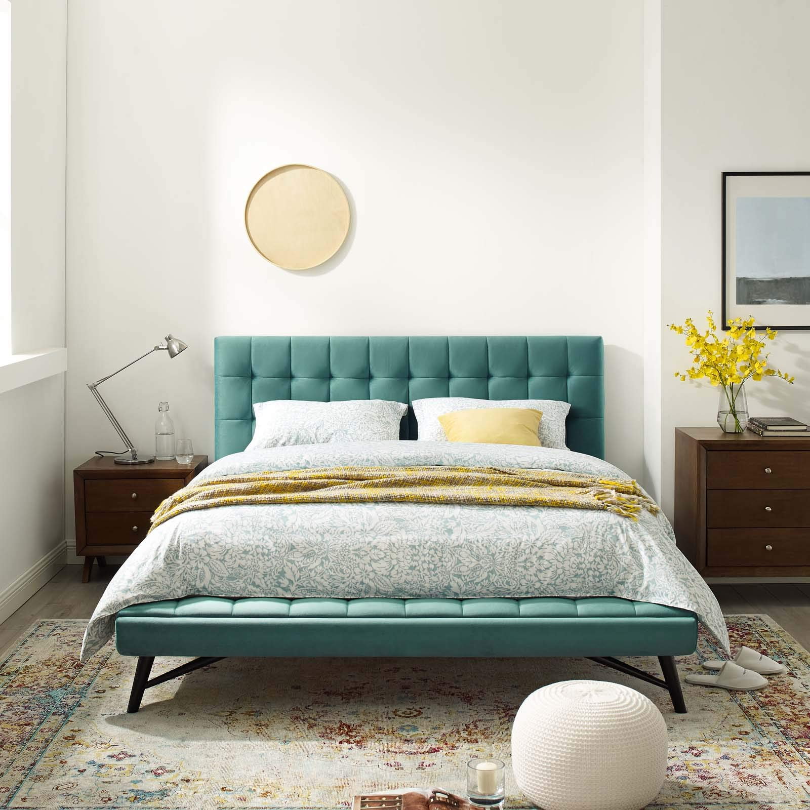 Modway Julia Mid-Century Biscuit Tufted Performance Velvet Queen Platform Bed in Teal by Modway