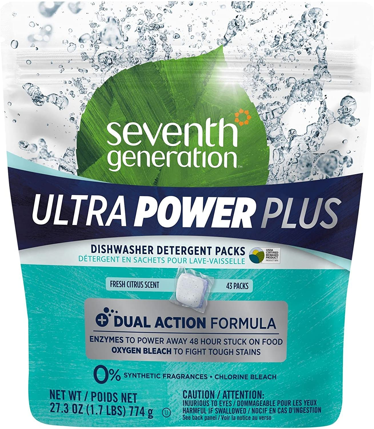 Seventh Generation Dishwasher Detergent Packs, Fresh Citrus Scent, 43 Count