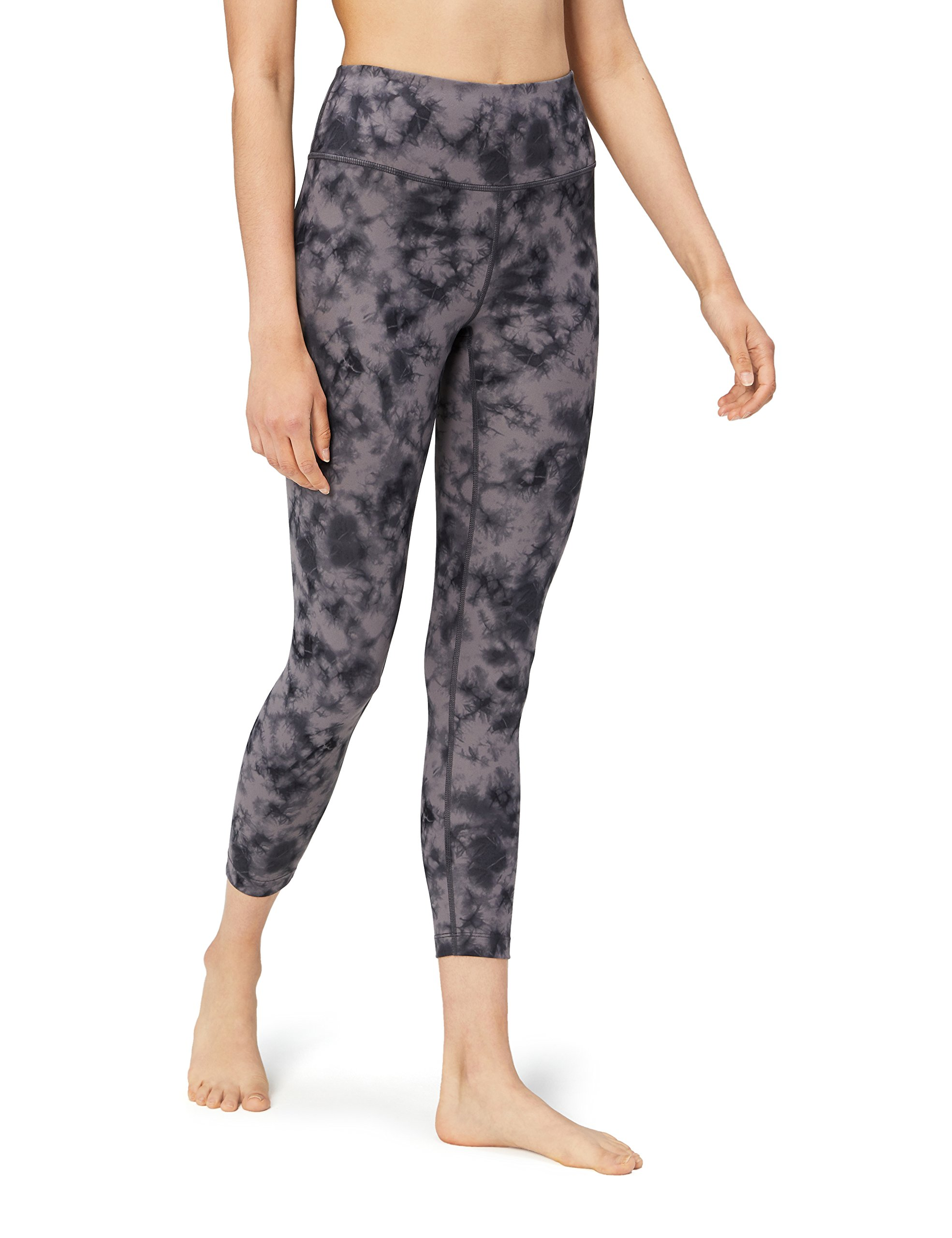 Core 10 Women's Spectrum High Waist Yoga 7/8 Crop Legging - 24'', Black/Grey tie dye, Large