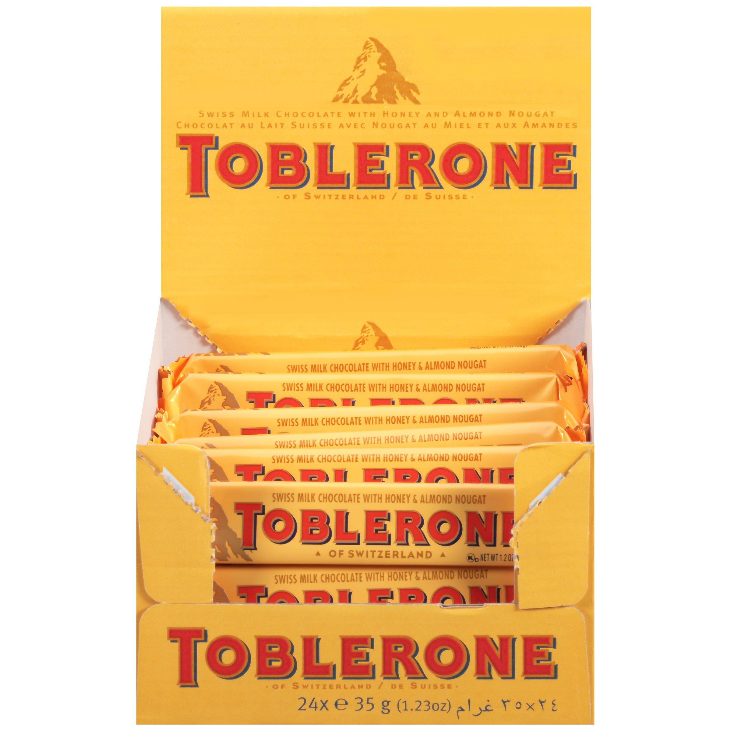 Toblerone Swiss Milk Chocolate with Honey & Almond Nougat, Easter Chocolate, 24 - 1.23 oz Bars