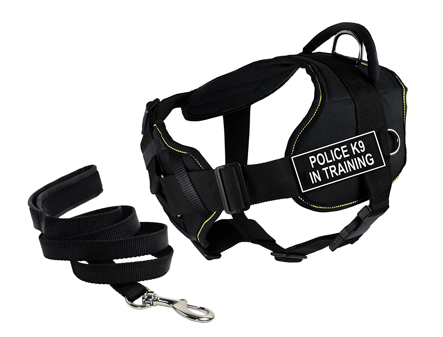 Dean & Tyler's DT Fun Chest Support POLICE K9 IN TRAINING Harness, Large, with 6 ft Padded Puppy Leash.