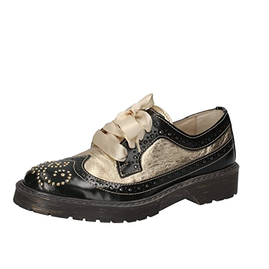 BEVERLY HILLS POLO CLUB Zapatos Elegantes Mujer Cuero Tachuelas (36 EU, Verde/Oro)