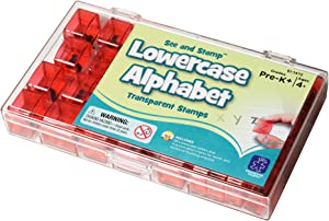 """Educational Insights Alphabet Transparent Stamps- Lowercase 5/8"""", Set of 26 Letters and 4 Punctuation Marks, Ages 4+"""
