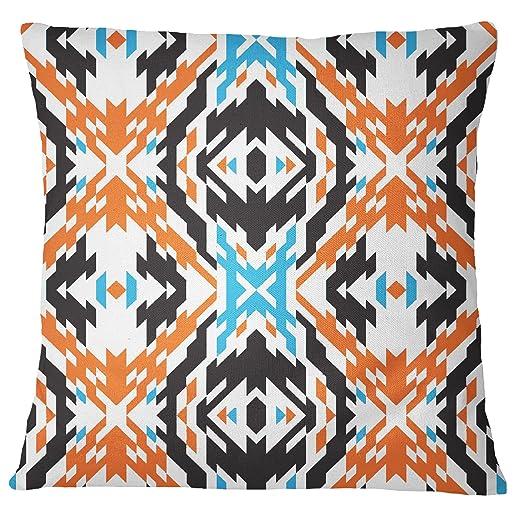 s4sassy Ikat impresión cuadrado sofá cojín cubierta naranja ...