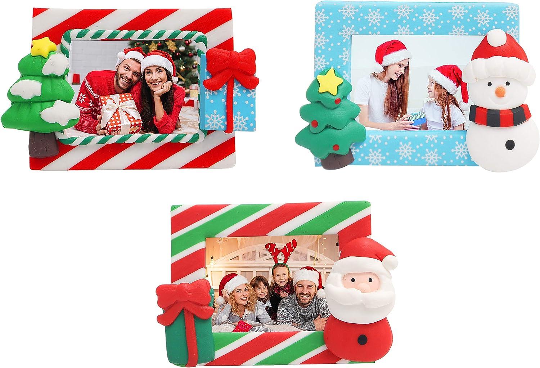 Belle Vous Marco Fotos Adorno Navidad (3 Piezas) 4,3 x 3 cm Mini Portarretratos para Fotos de Madera con Pie - Papá Noel, Muñeco de Nieve y Árbol Feliz Navidad Grabado para Decoraciones de Fiesta