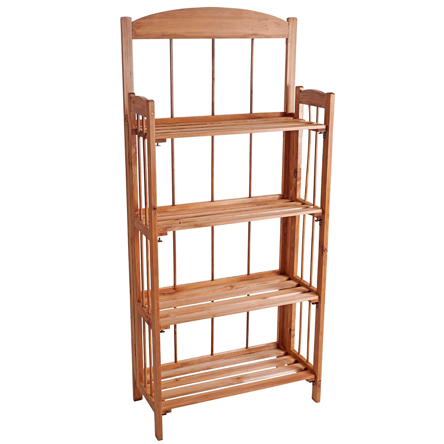 lavish home four shelf light solid wood bookcase 4
