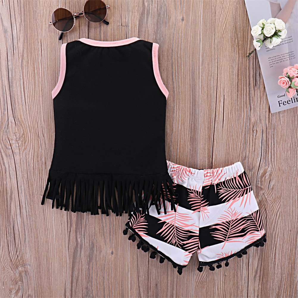 e7a8fb2505a Mikrdoo Toddler Girl Summer Clothes Vest Tops Tassels Shorts 2pcs Baby Girl  Outfit Suit