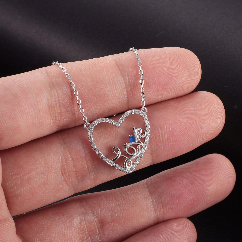 Caperci Sterling Silver Love Open Heart Pendant Necklace Women Girls, 18'' by Caperci (Image #4)