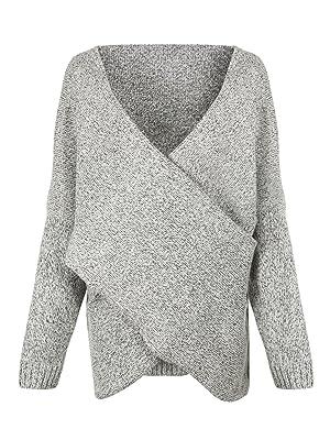 Choies Women's Gray Criss Cross Wrap Front V Neck Long Sleeve Knit Sweater Jumper-M