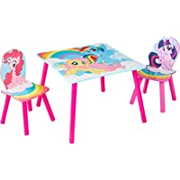 HelloHome My Little Pony Table and 2 Chairs Set, Wood, Pink, 63 x 63 x 45 cm