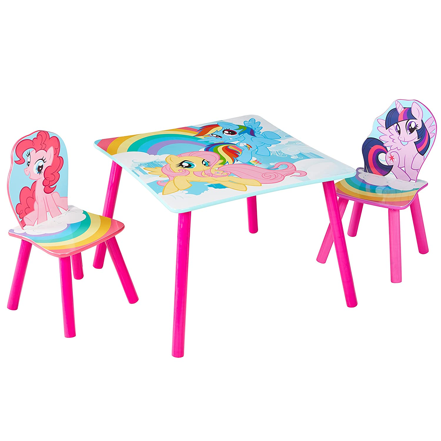 HelloHome My Little Pony Table and 2 Chairs Set, Wood, Pink, 63 x 63 x 45 cm Worlds Apart 527MLN