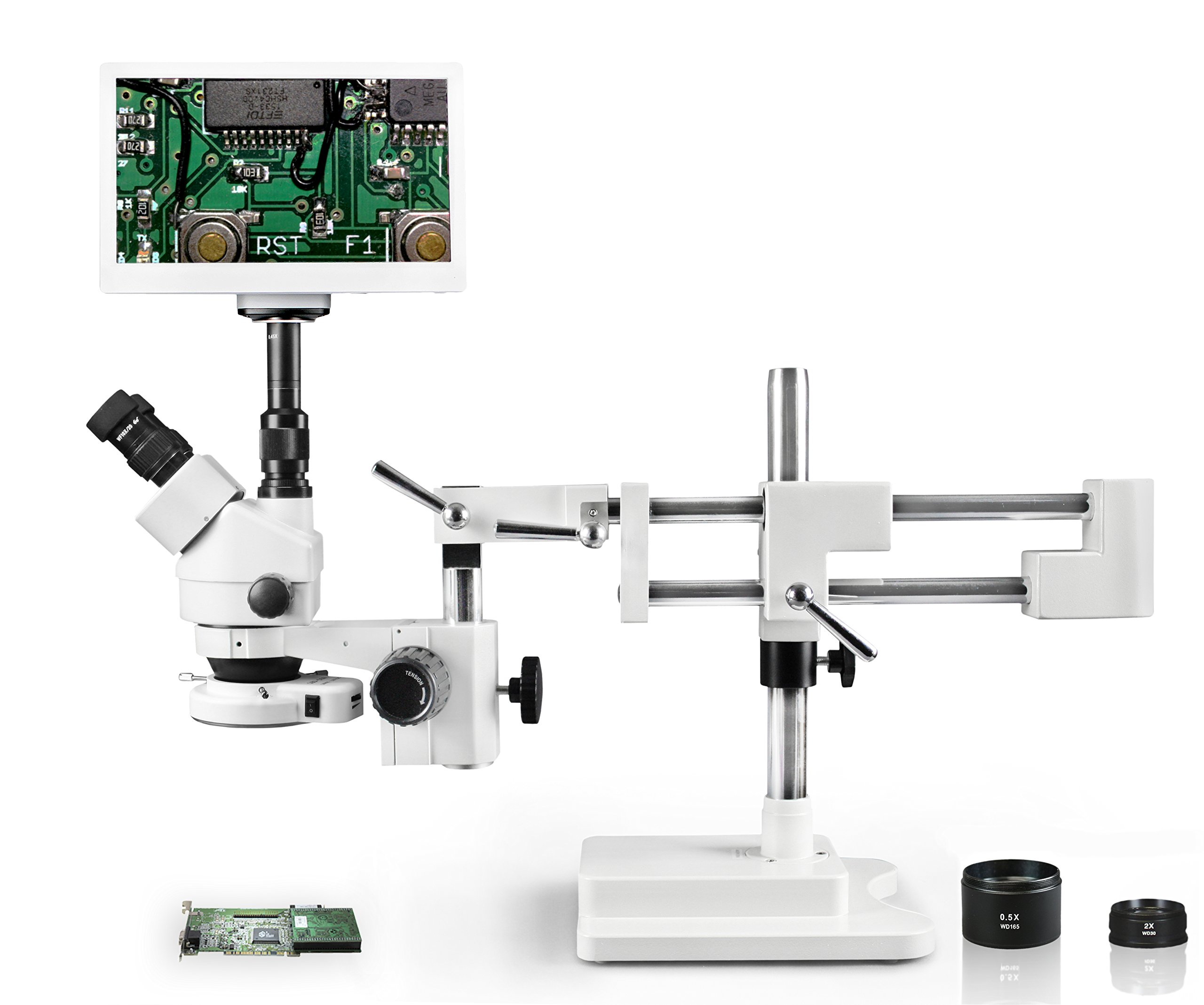 Vision VS-5FZ-IFR07-RET11.6 Trinocular Zoom Stereo Microscope, 10x WF Eyepiece, 3.5X-90x Magnification, 0.5X & 2X Aux Lens, Single Arm Boom Stand,11.6'' Retina HD Display with 5MP Camera by Vision Scientific