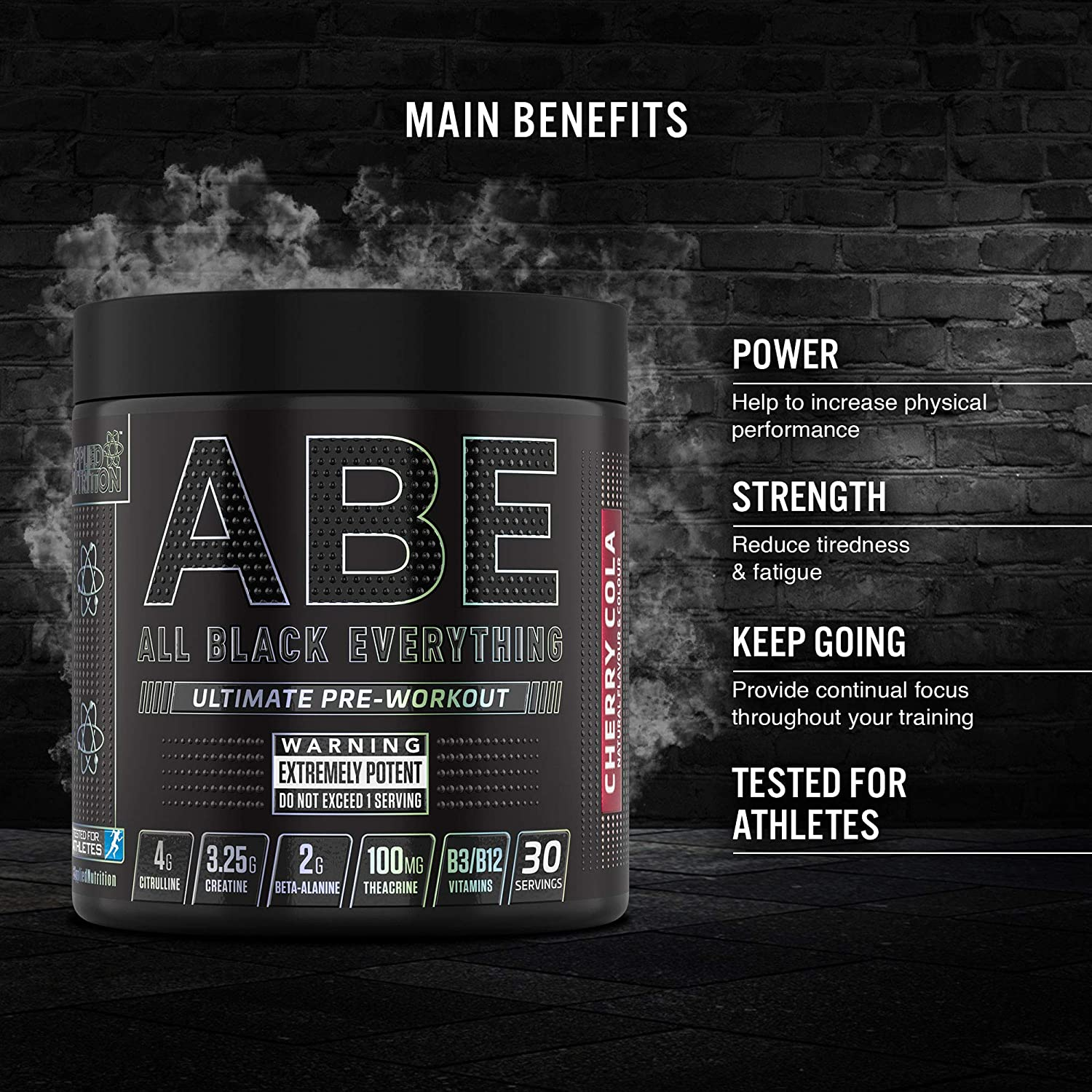 Applied Nutrition ABE - All Black Everything Pre Workout Energy Increase Physical Performance with Citrulline Creatine Beta Alanine Caffeine Vitamin B Complex 315g 30 Servings Candy Ice Blast