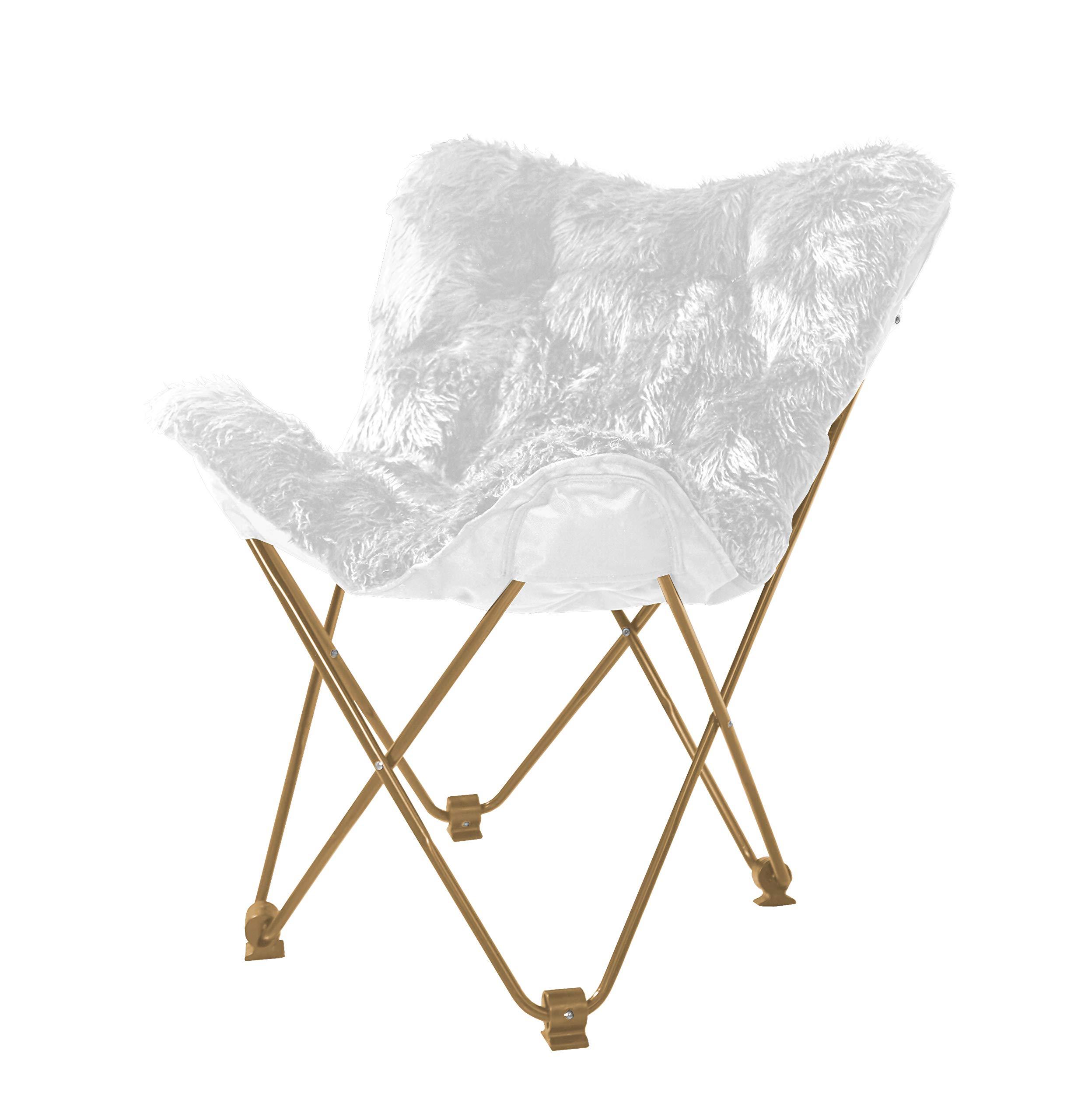 Urban Shop WK657560 Mongolian Butterfly Chair, White by Urban Shop