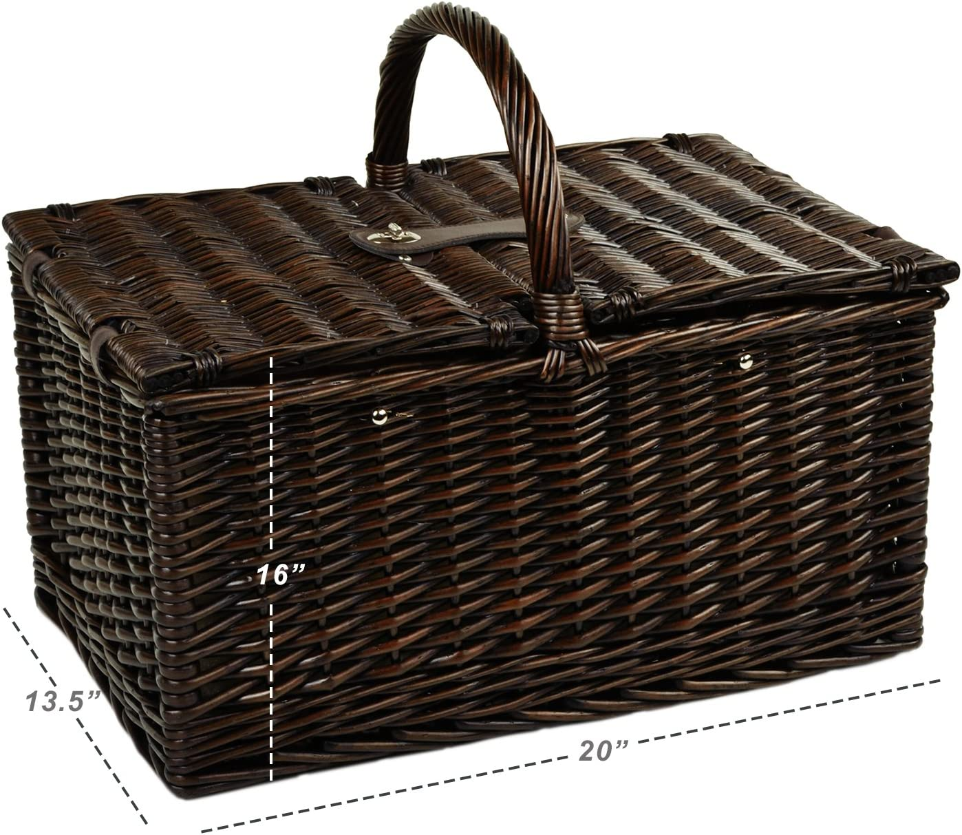 Picnic at Ascot Surrey Willow Picnic Basket with Service for 2 London Plaid