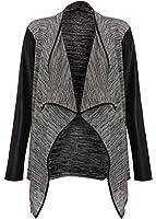 Damen Strickjacke mit Wasserfall-Ausschnitt und Kunstleder-Ärmeln, grau/schwarz, 36/38