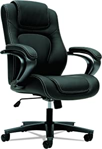 HON HVL402.EN11 Managerial Office Chair- High-Back Computer Desk Chair with Loop Arms , Black (VL402)