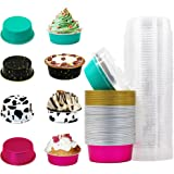All In One Foil Liners, Yuiviot Aluminum Baking Cups with Lids 60Pack, 4-Inch 5oz Foil Cupcake and Muffin Liner, 60 Cups and