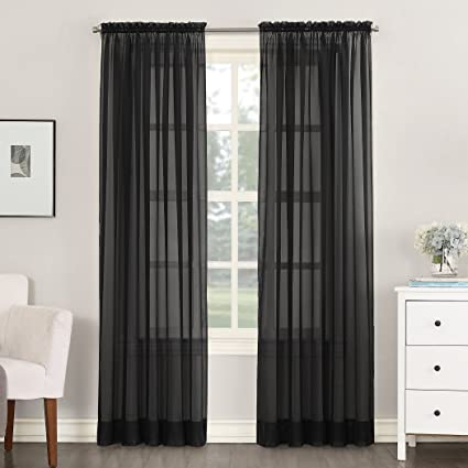 918 Emily Sheer Voile Curtain Panel 59quot X 84quot Black