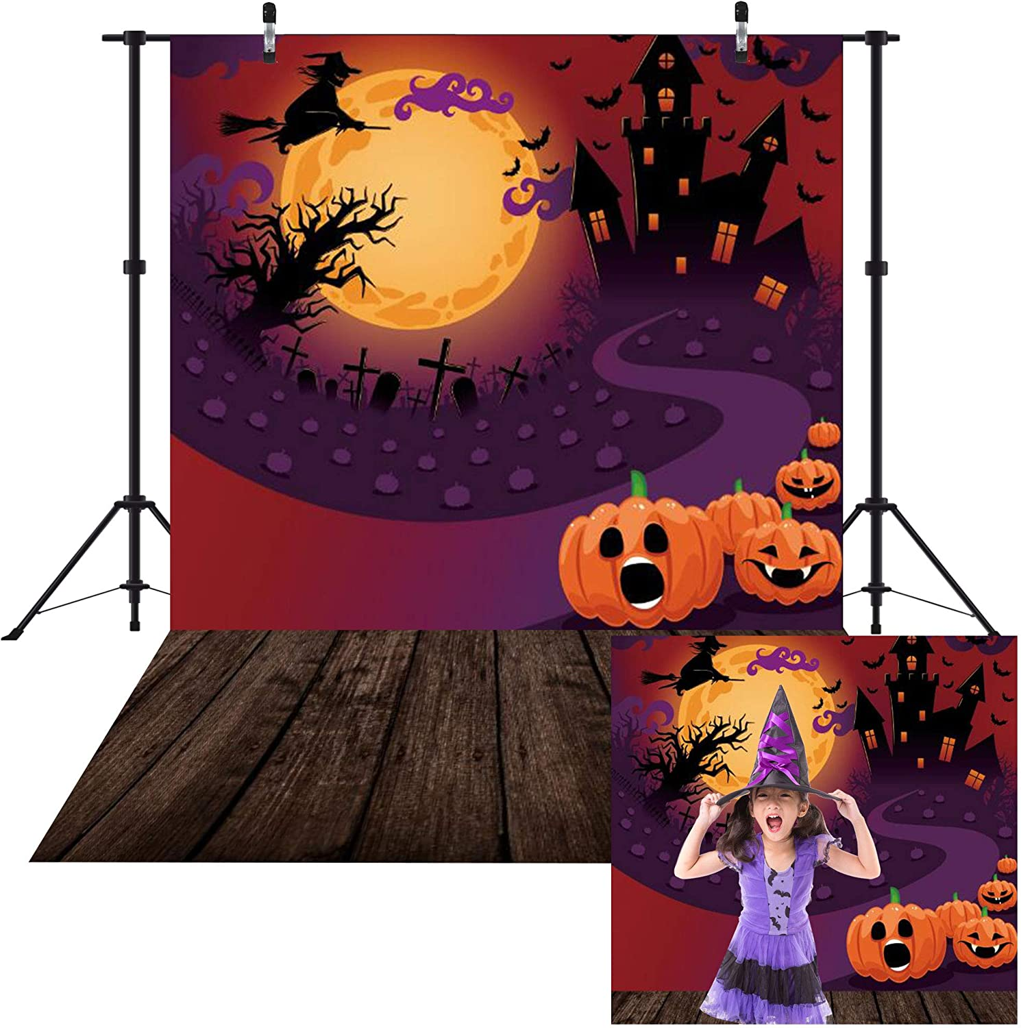 Haboke 5x7ft Durable/Soft Fabric Halloween Decorations Decor Backdrop for Photography Pumpkin Castle Witch and Bat Horrible Party for Kids Photo Background Photo Studio Booth Props