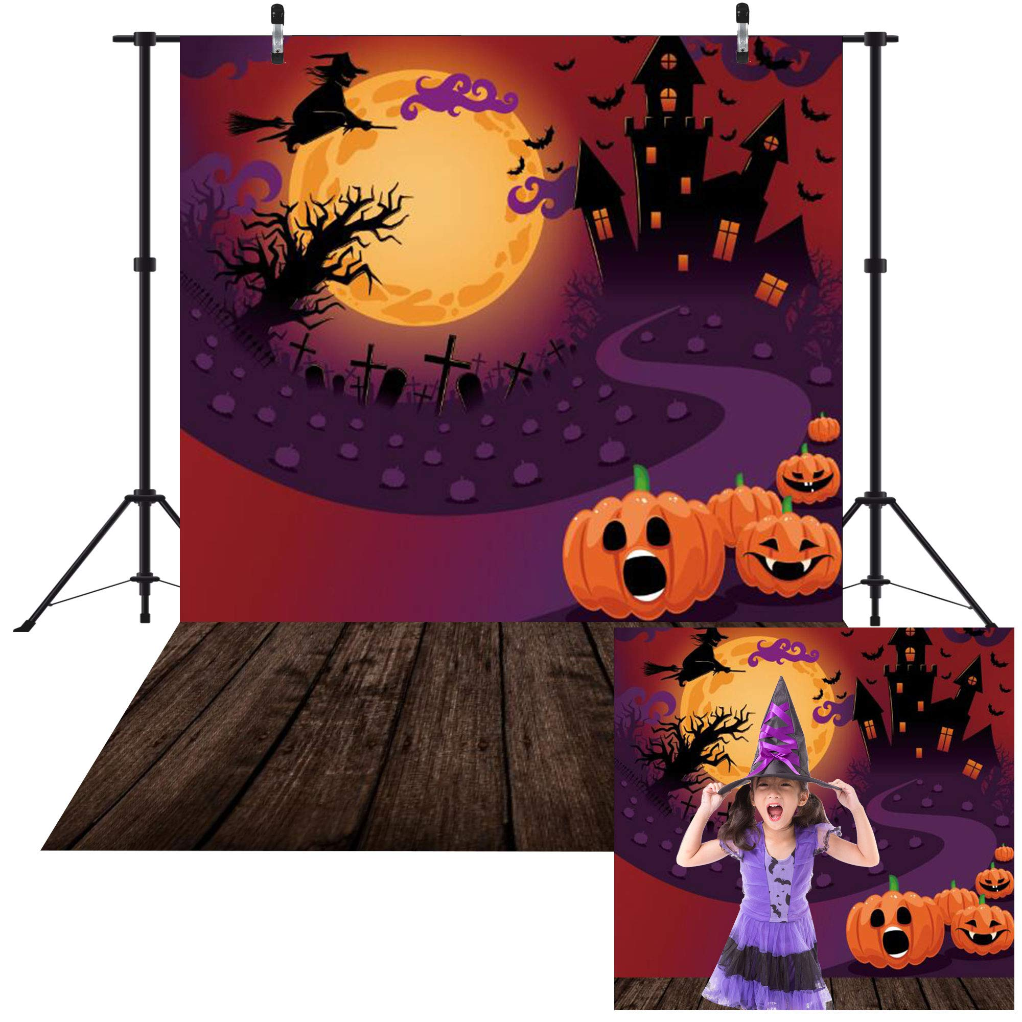 Haboke 5x7ft Durable/Soft Fabric Halloween Decorations Decor Backdrop for Photography Pumpkin Castle Witch and Bat Horrible Party for Kids Photo Background Photo Studio Booth Props by Haboke