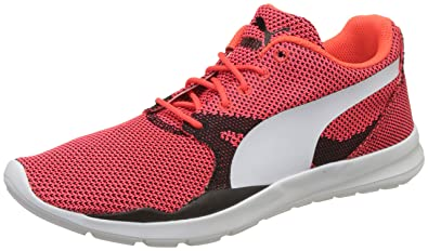 Puma Men's Duplex Evo Knit Red Blast and Glacier Grey Sneakers - 10 UK/India