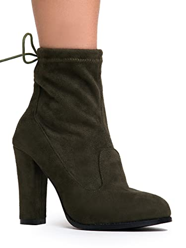 High Heel Slip On Ankle Boot - Casual Trendy Drawstring Bootie - Faux Suede Sock Shoe - Jordi by