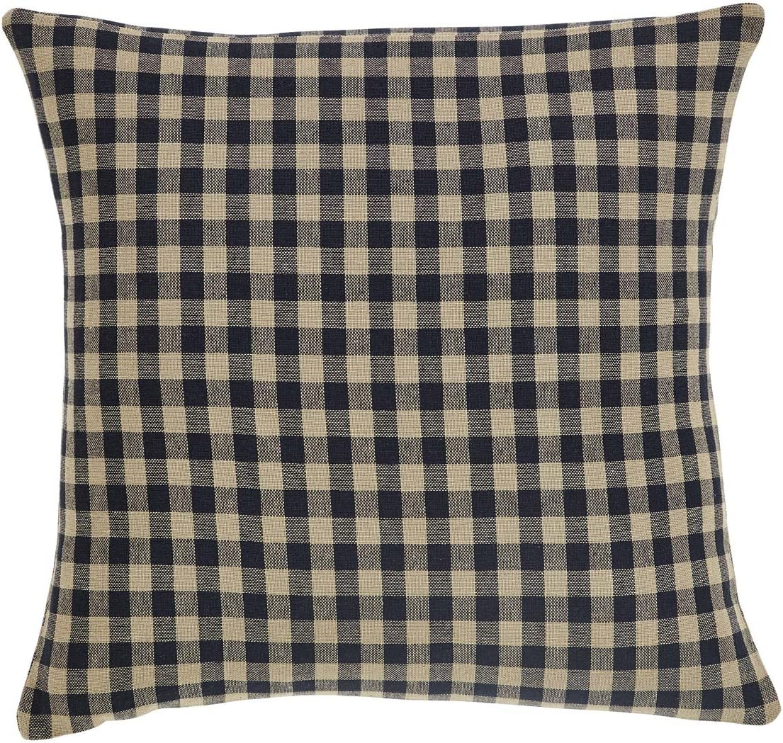 VHC Brands Black Check Fabric Pillow 16x16 Country Rustic Design, Black and Tan