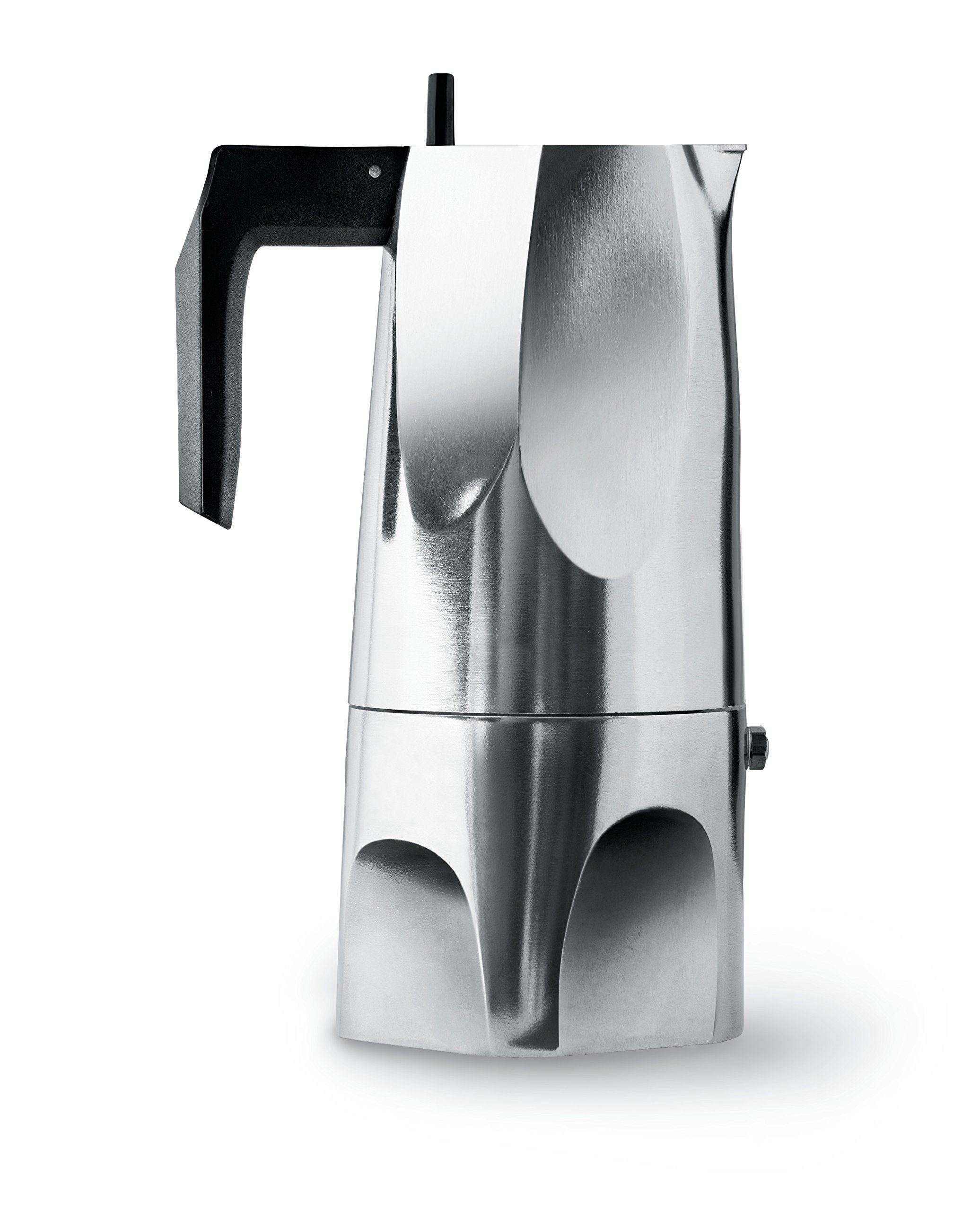 Alessi MT18/6''Ossidiana'' Stove Top Espresso 6 Cup Coffee Maker in Aluminium Casting Handle And Knob in Thermoplastic Resin, Black by Alessi