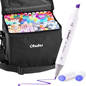 160 Colors Alcohol Art Markers, Ohuhu Double Tipped Marker Set for Kids Adults Coloring, Alcohol-based Sketch Markers for Drawing Sketching, Comes w/ 1 Colorless Alcohol Marker Blender
