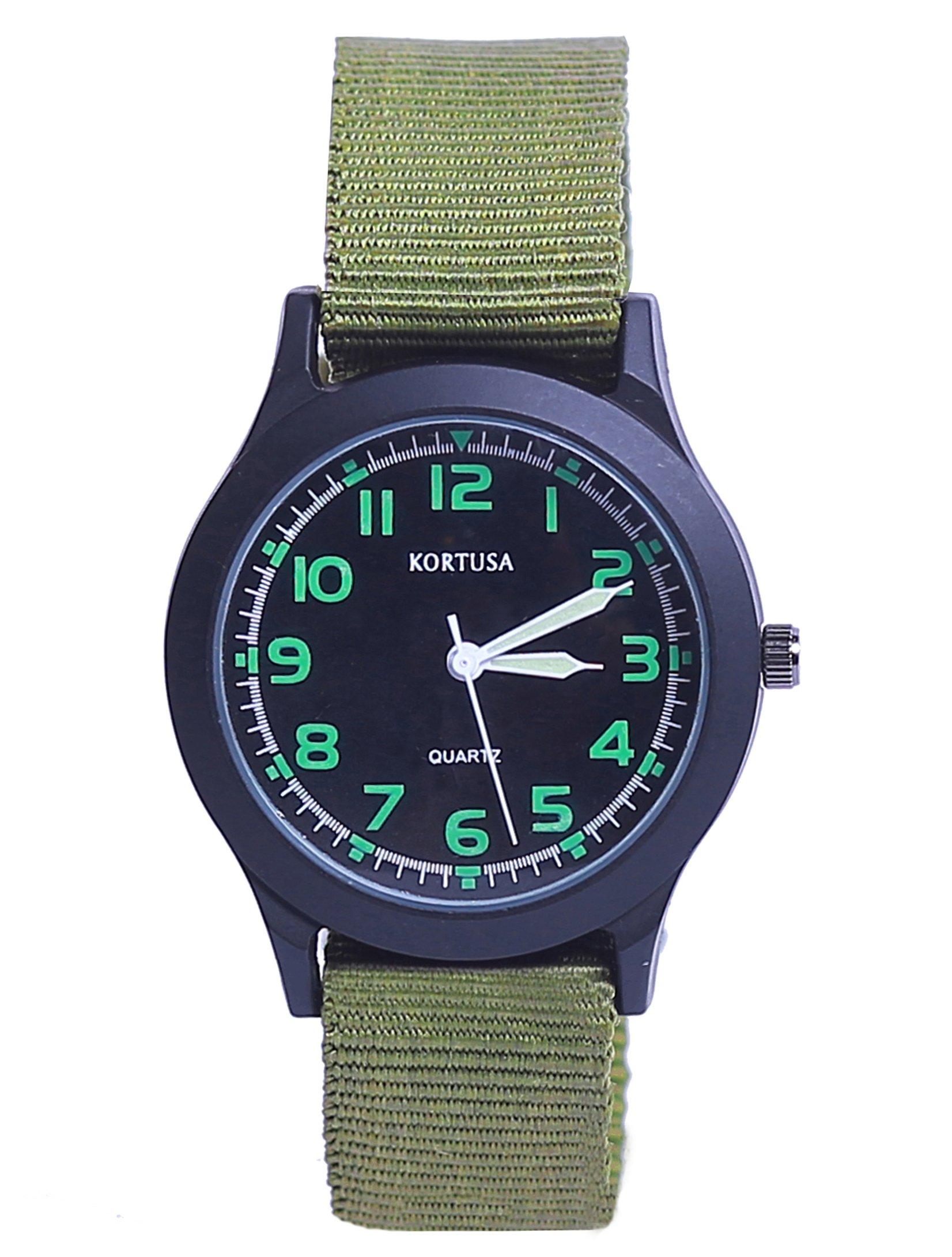 Kids Luminous Military Nylon Wrist Watch Boys Girls Waterproof Analog Quartz Watch with Adjustable Nylon Strap Green