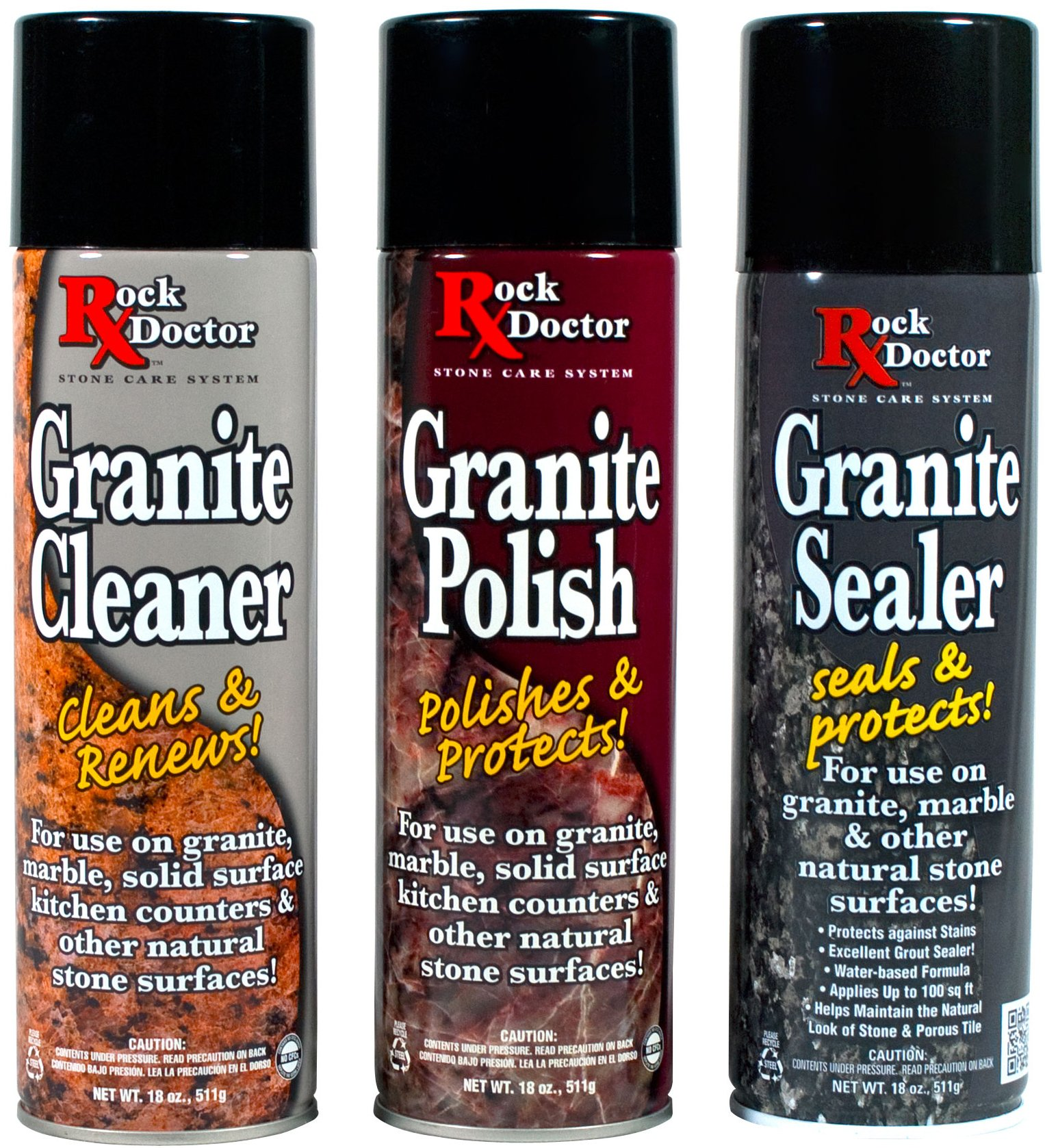 Rock Doctor Granite Care Kit, 3 Piece Maintenance Stone Care Combo Kit - All-in-One Rock Surface Care System Includes Protective Granite Cleaner, Granite Polish & Granite Sealer (18oz Each) by Rock Doctor (Image #1)