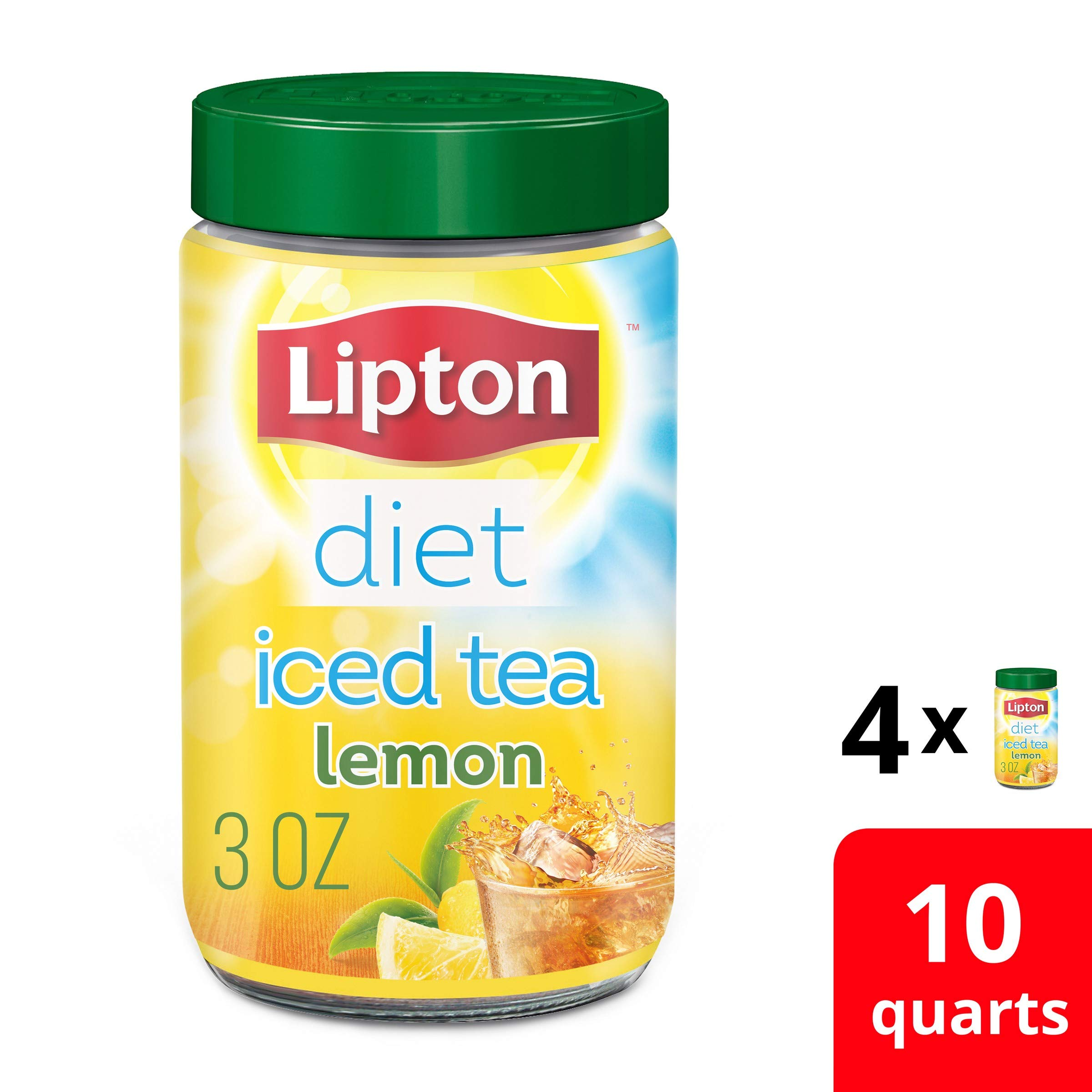 Lipton Diet Iced Tea Mix for any time of day Decaffeinated Lemon 100% Made From Real Tea Leaves Sugar Free, 3 Ounce, Pack of 4 by Lipton