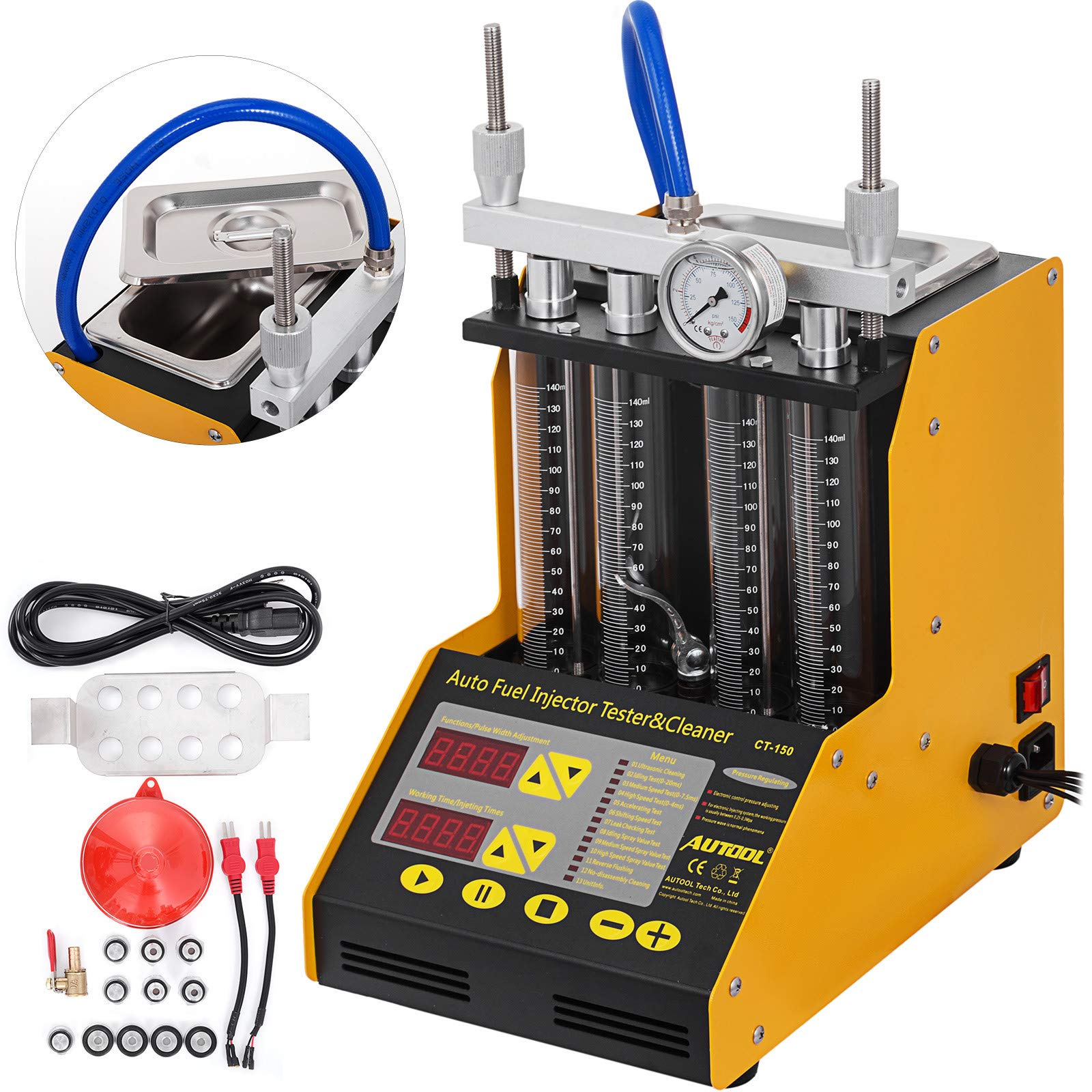 BestEquip CT150 Ultrasonic Fuel Injector Cleaner&Tester Automotive Fuel Cleaning Tools for Car Motor 4-Cylinder
