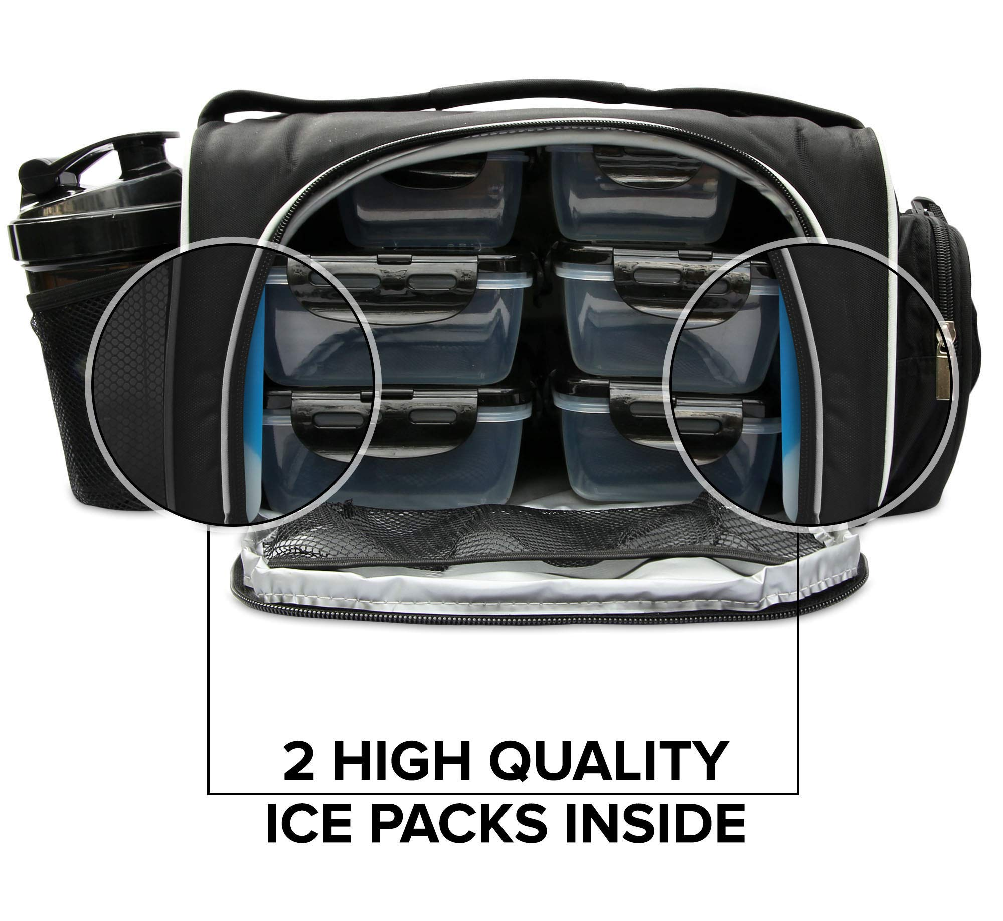 Meal Prep Bag By TO GO Insulated Lunch Meals Bag W/6 Portion Control Containers,2 ICE PACKS, Shaker, Pill Box,With an Adjustable shoulder. bag for meals (Black/new) by TO GO (Image #5)