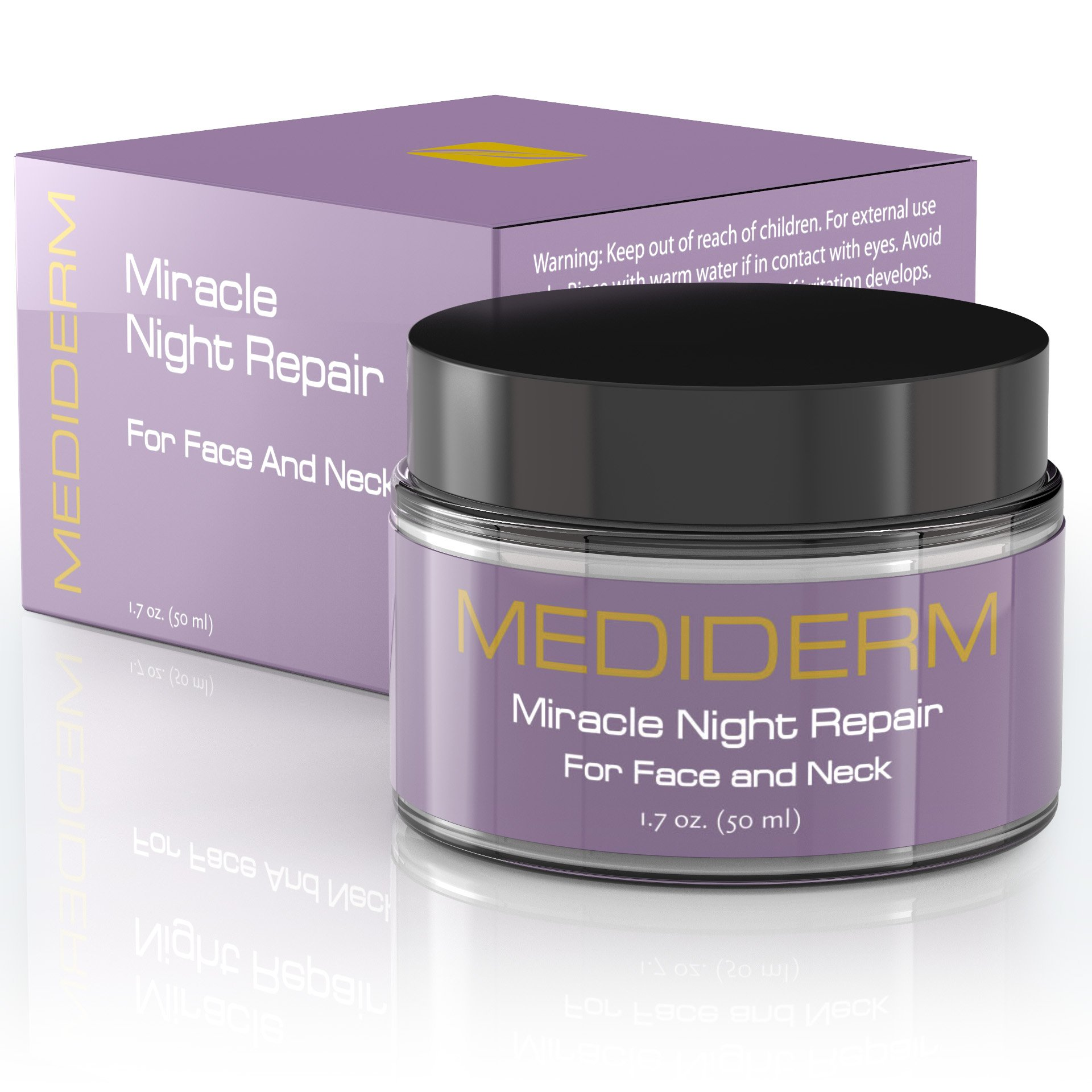 Miracle Night Repair Cream - Best Anti Aging Moisturizer and Anti Wrinkle Cream with Hyaluronic Acid, Vitamin C, Marine Collagen. Daily Moisturizing Treatment for Men and Women