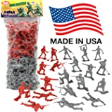 TimMee Plastic Army Men 'Gray vs. Red': 100 Piece Set of 2 inch Toy Soldier Figures - Made in the USA !