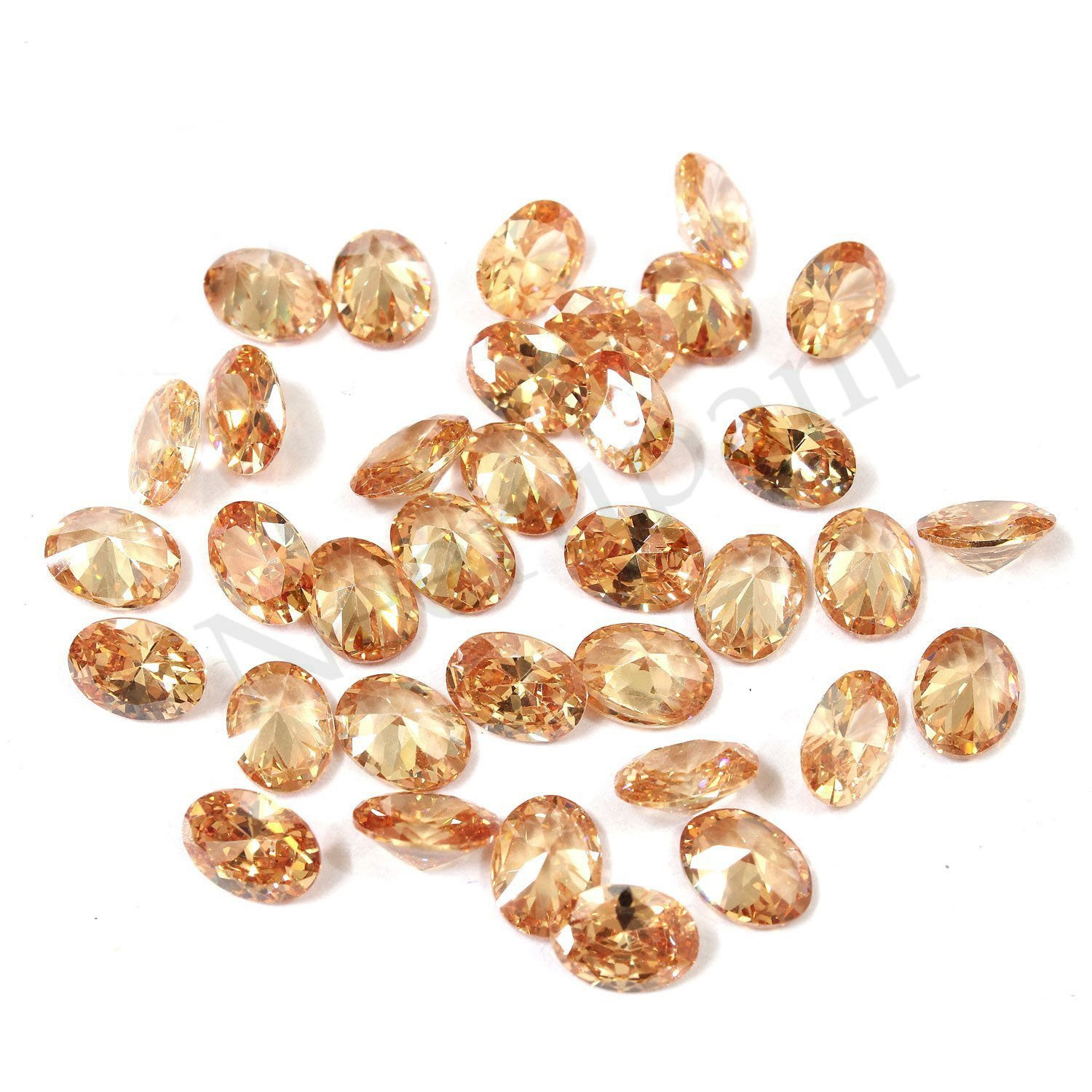 Neerupam collection Champagne Colour Cubic Zirconia AAA Quality Diamond Cut Oval Shape loose gemstone