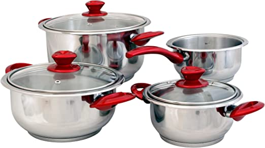 Swiss Home Zurich Red Cookware Set Stainless Steel Silver 30 X 30 X 30 Cm Amazon Co Uk Kitchen Home