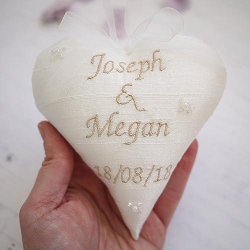 Personalised Wedding Giftpersonalised Silk Wedding Heartsilk