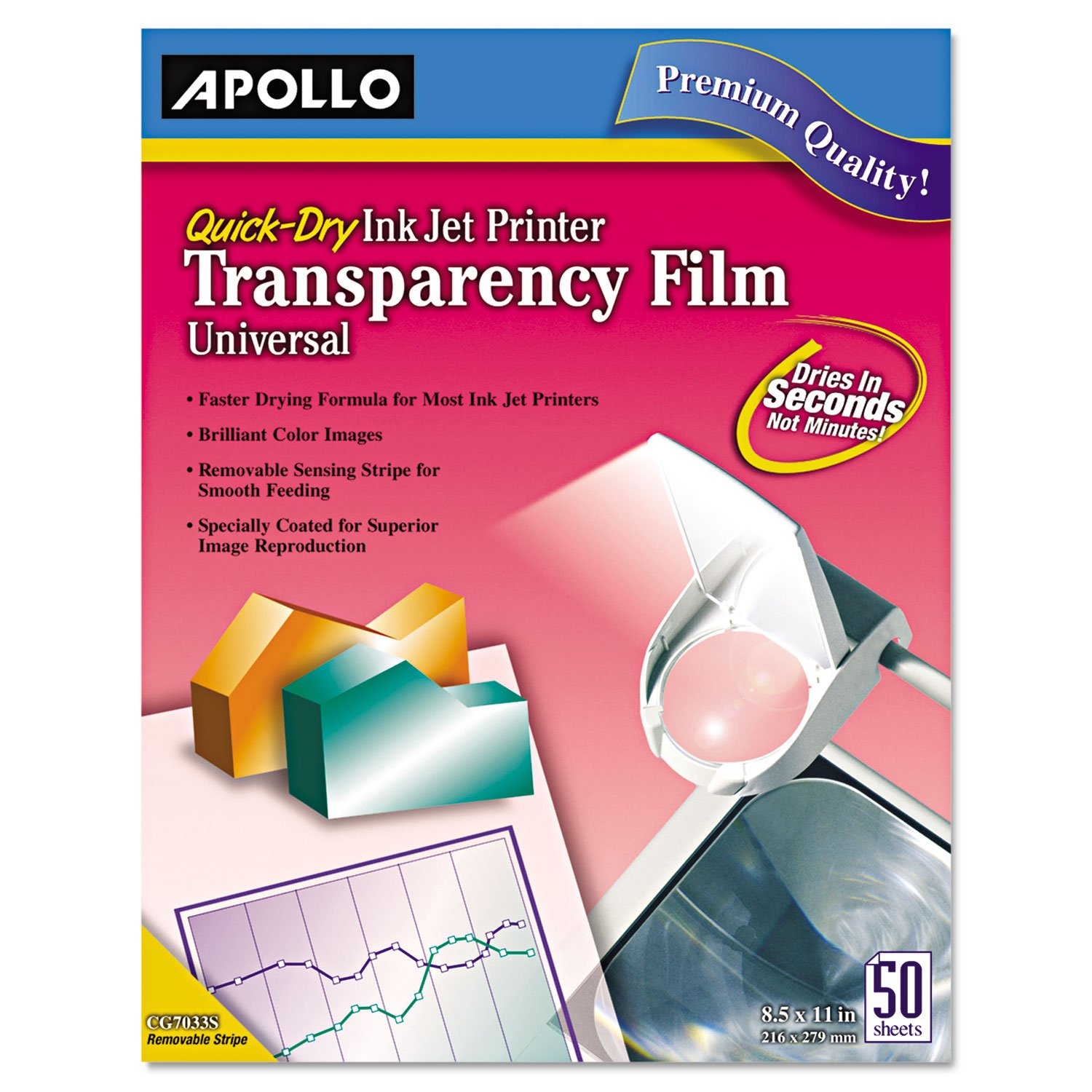 Apollo CG7033S Quick-Dry Color Inkjet Transparency Film, Letter, Clear, 50/Box