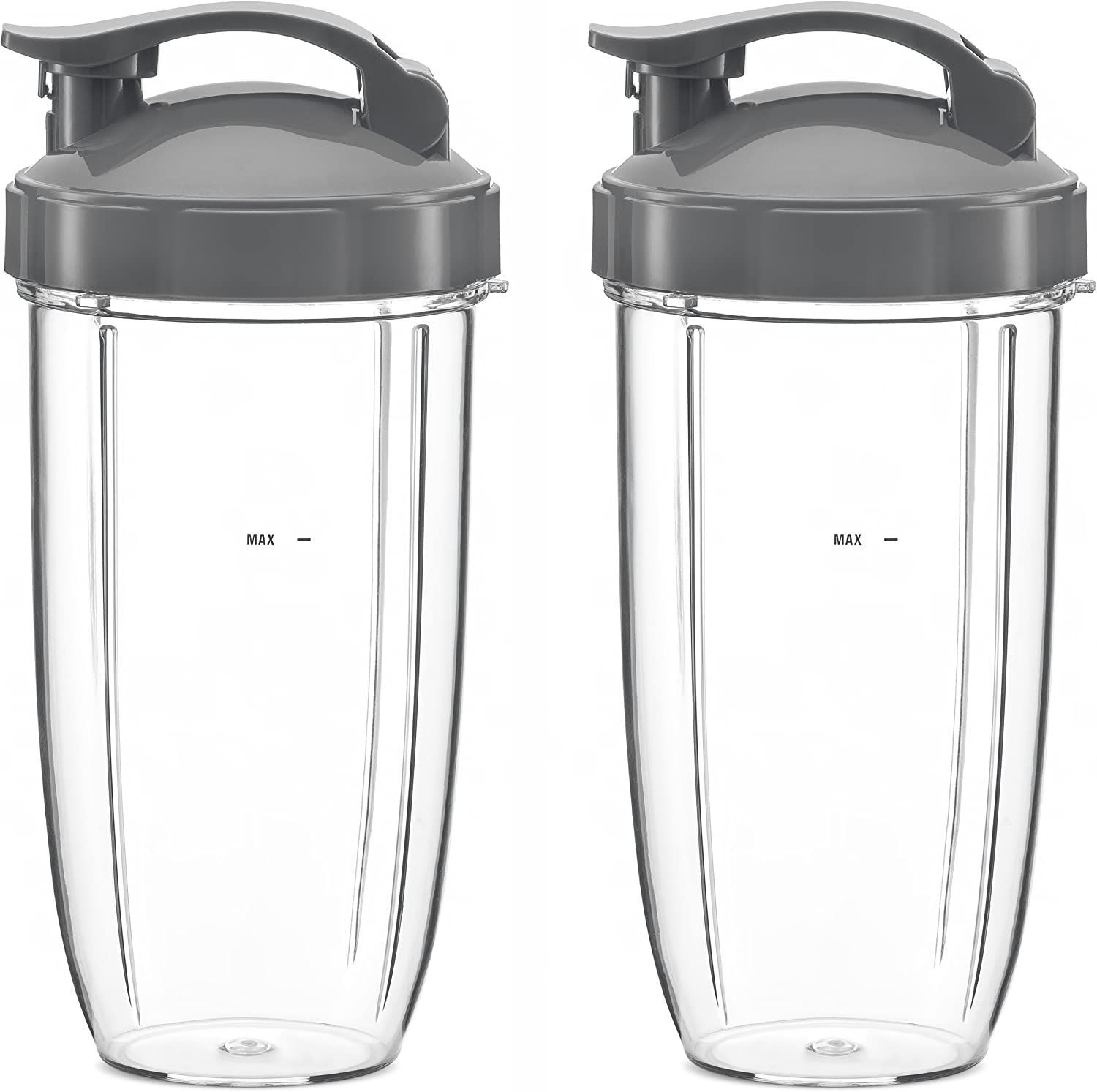32oz Replacement Cups with Flip Top To Go Lid Compatible With NutriBullet 600w and Pro 900w Blender (2 Pack) by Preferred Parts