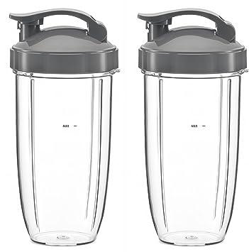Preferido partes enorme taza de vasos con tapa y parte superior - tapa de repuesto para Nutribullet - Licuadora/Batidora de alta velocidad, ...