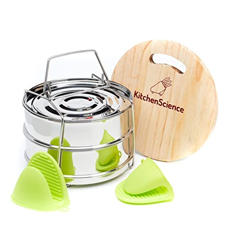 Amazon Com Kitchen Science Stackable Steamer Insert Pans With Sling