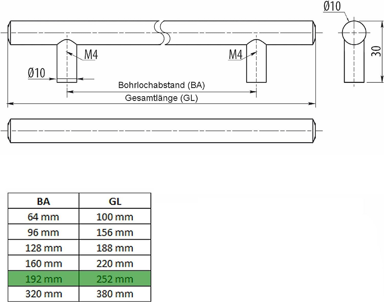 SO-TECH/® Maniglie G14 per ante cucina e armadi acciaio inox satinato Set di 10 x 160 mm distanza dei fori viti incluse