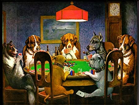 Dogs Playing Poker Cards Canvas Print 20 X30 Framed Ready To Hang Amazon Co Uk Kitchen Home