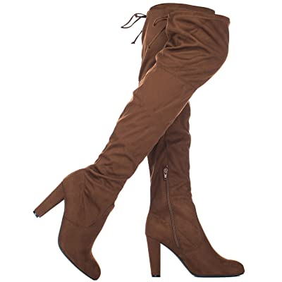 ILLUDE Women's Thigh High Stretch Boot - Sexy Over The Knee Pull on Boot - Drawstring Block Heel Shoe - Comfortable Knee High Boots | Over-the-Knee