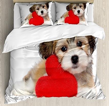 Cute Funda de edredón Set por lunarable, Lover Valentine Havanese cachorro perro con un corazón